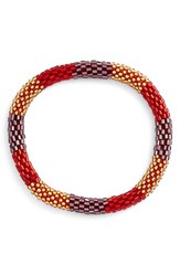Women's Aid Through Trade Roll On Beaded Stretch Bracelet Red Gold Stations