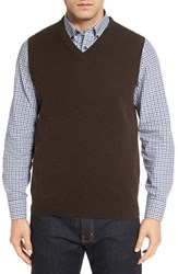 Nordstrom Men's Big And Tall Men's Shop Cashmere V Neck Sweater Vest Brown Seal