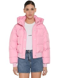 Msgm Cropped Down Jacket W Hood Pink