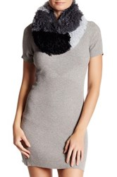 Free Press Colorblock Faux Fur Infinity Scarf Black