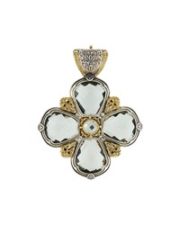 Konstantino Astritis Silver And 18K Gold Green Amethyst Clover Pendant Enhancer Women's