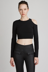 Thierry Mugler Cut Out Long Sleeve Top Black