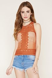 Forever 21 Embroidered Lace Cutout Top