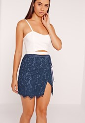 Missguided Wrap Lace Mini Skirt Navy Blue