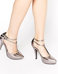 Little Mistress T Bar Platform Heeled Shoes Pewter