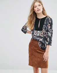 Pepe Jeans Marianna Floral Print Deep V Blouse Multi Navy