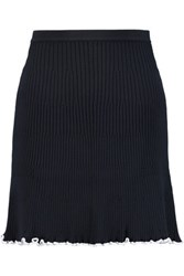 J.W.Anderson Ruffle Trimmed Ribbed Knit Mini Skirt Navy