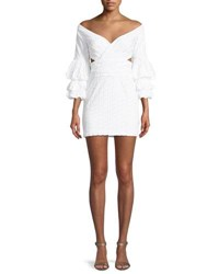 Fame And Partners The Brittany Eyelet Double Trumpet Sleeve Mini Dress Ivory