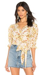 Faithfull The Brand Mali Wrap Top In White. Off White Goldie Floral