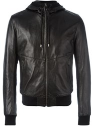 Dolce And Gabbana Hooded Leather Jacket Black