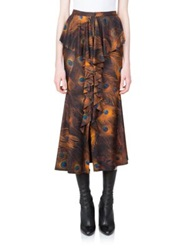 Givenchy Peacock Print Silk Ruffle Skirt Multi