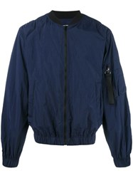Msgm Zipped Bomber Jacket Blue