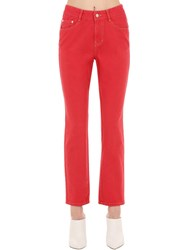 Sjyp Mid Rise Straight Leg Cotton Denim Jeans Red