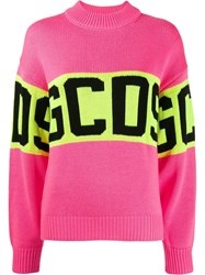 Gcds Knitted Logo Sweater Pink