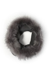 Do Everything In Love Faux Fur Chunky Knit Infinity Scarf Gray