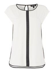 Episode Sleeveless Soft Jersey Top With Pu Trim Off White