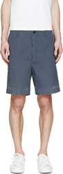 Sacai Navy And White Check Seersucket Shorts