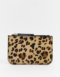 Urbancode Leather Coin Purse With Card Holder In Leopard Grey