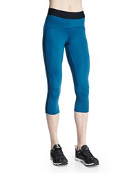 Heroine Sport Studio Capri Sport Leggings Teal And Black
