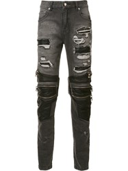 God's Masterful Children Zipped Ripped Skinny Jeans Black