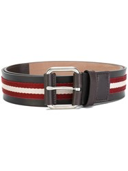 Bally Striped Buckle Belt Black