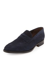 Magnanni Calf Suede Penny Loafer Navy