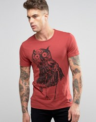 Blend Of America Slim Owl Print T Shirt Wood Red Wood Red