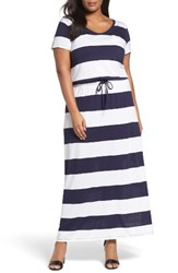 Caslonr Plus Size Women's Caslon Knit Drawstring Waist Maxi Dress Navy White Buoy Stripe