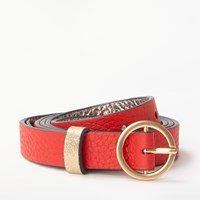 Boden Leather Skinny Belt Post Box Red