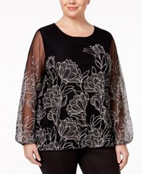 Alfani Plus Size Embroidered Blouson Top Only At Macy's Dark Silver