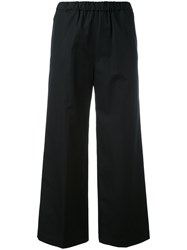 Aspesi Cropped Flared Trousers Women Cotton 42 Black