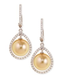 18K Golden South Sea Pearl And Diamond Halo Earrings Eli Jewels Blue