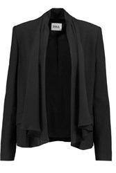 Issa Emily Silk Trimmed Crepe Jacket Black