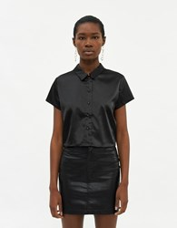 Which We Want Isla Cropped Button Up Shirt In Black Size Small Spandex