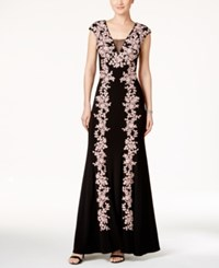 Betsy And Adam Embroidered Illusion A Line Gown Black Rose