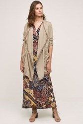 Anthropologie Draped Morgan Trench Taupe