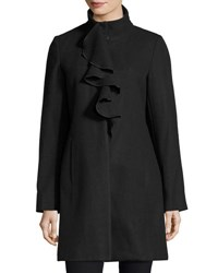 T Tahari Kate Ruffle Wool Blend Coat Black