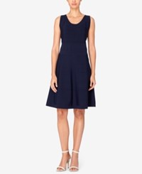 Catherine Malandrino Paz Fit And Flare Sweater Dress Electric Navy