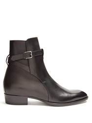 Saint Laurent Wyatt Jodhpur Leather Boots Black