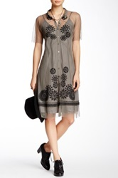 Biya Lace And Silk Shirt Dress Gray