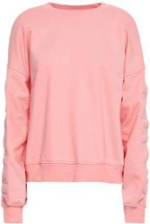 7 For All Mankind Woman Quilted French Cotton Terry Sweatshirt Peach