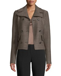 St. John Sofia Knitted Double Breasted Jacket Brown Pattern