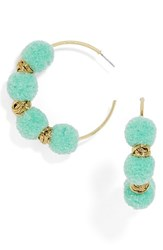 Baublebar Women's Curacao Pompom Hoop Earrings Turquoise