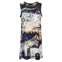 Louise Coleman Graveyard Silk Vest Dress Black Blue Green