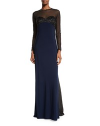 Mignon Embellished Two Tone Gown Black Midnight
