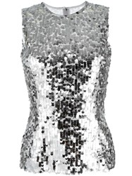 Dolce And Gabbana Sequinned Tank Top Grey