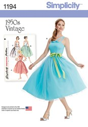 Simplicity 1950S Vintage Women's Dress Sewing Pattern 1194