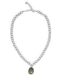Majorica Chain Necklace With Gray Pearly Charm