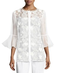 Elie Tahari Avon Bell Sleeve Embroidered Organza Blouse White