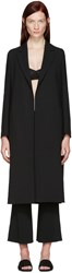 Calvin Klein Collection Black Crepe Belted Kred Coat
